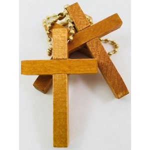 Wooden Cross Keychain